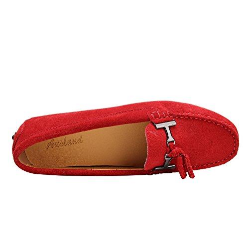 ShenDuo Damen Mokassins Lederschuhe Casual Slipper Sommer Schuhe mit Metallschnallen und Bällchen D7057 Rot
