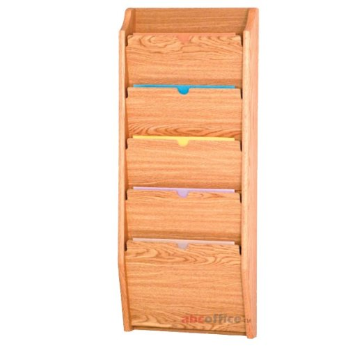 - Wooden Mallet PCH36-5 Light Oak 5-Pocket HIPAA Compliant Wall Mounted Privacy File/Chart Holder
