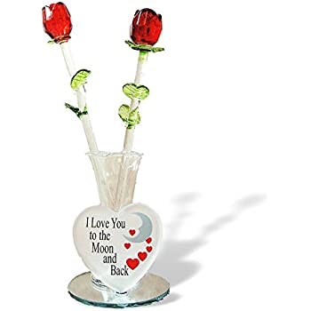 Amazon Glass Flower Bouquet Set Of 2 Red Glass Roses In A