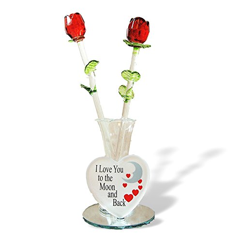 Glass Flower Bouquet - Set of 2 Red Glass Roses in a Heart Shaped Vase - I Love You to the Moon and Back - Valentine's Day - Heart Flowers Love Shaped