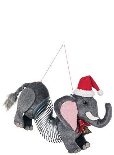 Christmas Elephant - Elephant Slinky with Santa Hat 7 inch Specialty Christmas Ornament