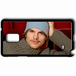 Personalized Samsung Note 4 Cell phone Case/Cover Skin Ashton Kutcher Hat Mustache Eyes Sweater Black
