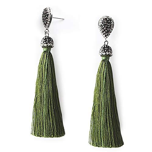 Olive Green Tassel Earrings Rhinestone Long Dangle Drop Fringe Thread Tassel Earrings for Women Girls Statement Boho Earrings
