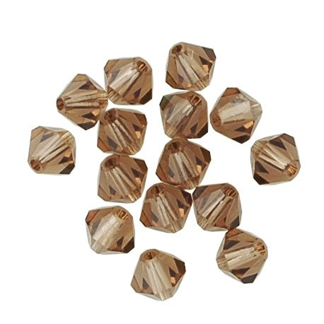 100 pcs 4mm Swarovski 5301 Crystal Bicone Beads, Colorado Topaz, SW-5301 Colorado Topaz Swarovski Crystal Beads