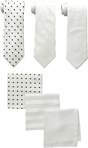 (Stacy Adams Men's 3 Pack Satin Neckties Solid Striped Dots with Pocket Squares, White, One Size)