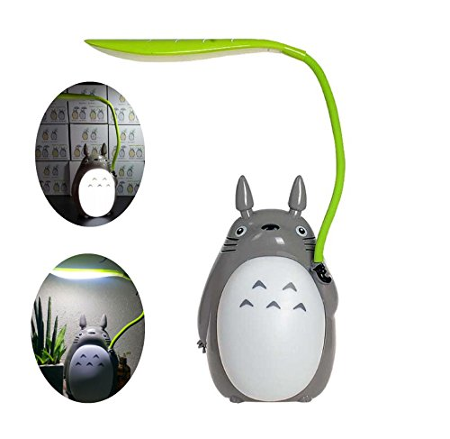 Totoro Anime LED Night Light, Leaf Light, Kid's Character Lamp USB Charge, Desk Night Table Reading Lamp (White Belly)