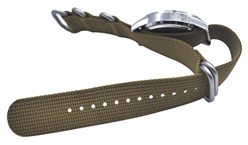 ArtStyle Watch Band with 1.5mm Thickness Quality Nylon Strap and Heavy Duty Brushed Buckle (Khaki, 20mm) Photo #5