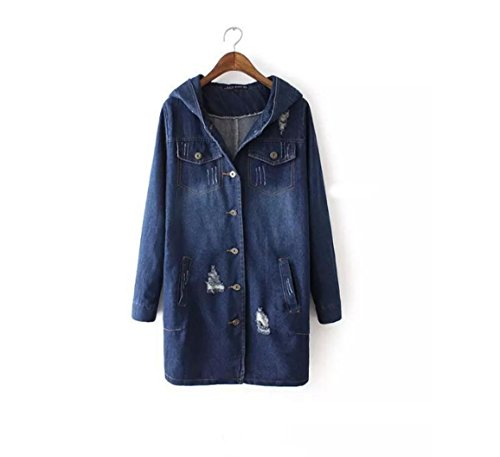 (Spring and autumn new European and American wind holes in a single row of long hooded cowboy jacket female , picture color , m )