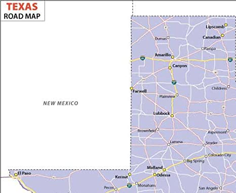Texas Highway mapa - LAMINADO (36