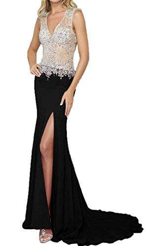 recorte Mujer ressing vestido vestido ivyd V rueckenfrei para de Prom fiesta piedras Ranura de Elegante noche fijo vestido largo negro r5Xd5cq