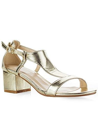 ROF Women's T-Strap Ankle Strap Buckle ClosureMid Block Heel Sandals LIGHT GOLD (7.5)