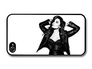 AMAF ? Accessories Demi Lovato Posing Black & White Singer Popstar case for iPhone 4 4S
