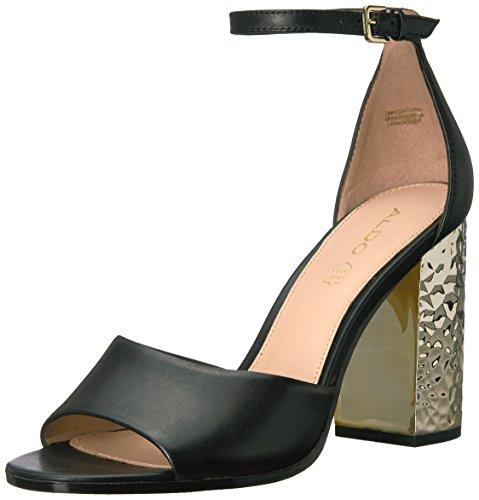ALDO Women's Nilia Dress Sandal, Black Leather, 5 B US