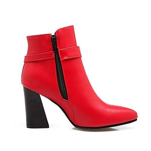 Balamasa Femmes Boucles En Métal Confort Mode Uréthane Bottes Rouge