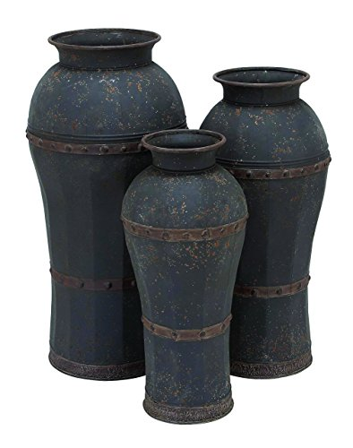 Benzara Metal Vase, Antique Weathered Finish, Set of 3