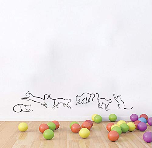 Dalxsh Collection Cats Outline Vinyl Wall Sticker for Kids Rooms Removable Cat Wall Decals Home Decor Kitchen Sticker 56X10Cm