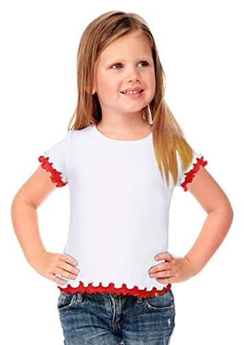 Kavio Little Girls 4-6X Lettuce Edge Short Sleeve Top, White/Red, 6X