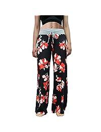 Eyoung Women's Pajama Lounge Pants Stretch Floral Print Drawstring Long Wide Leg Lounge Pants (Pink, XXL)