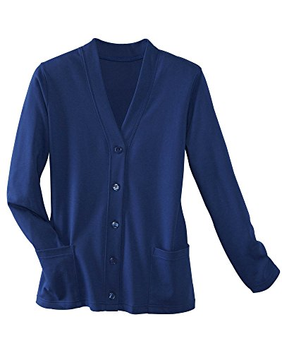 UltraSofts Button-Front Knit Cardigan, Navy, Large Petite ()