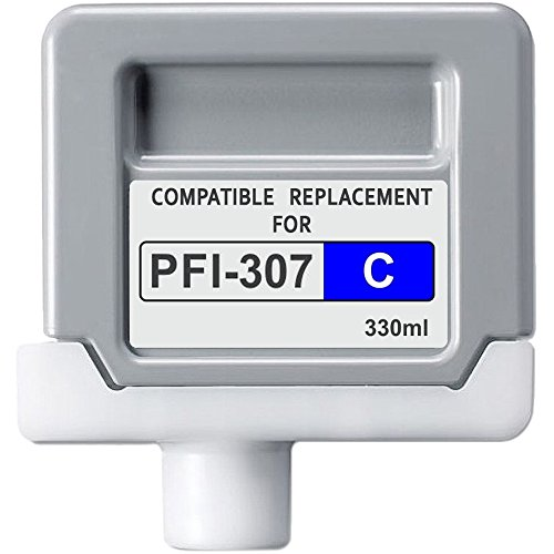 Abacus24-7 Compatible non-OEM Replacement PFI-307C Cyan Ink Tank Cartridge for imagePROGRAF iPF830 / iPF840 / iPF850 Large Format Inkjet Printer