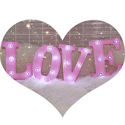 (Pooqla Decorative Illuminated Marquee Love Word Sign with Diamond Light Bulb (Pink Color 6.38