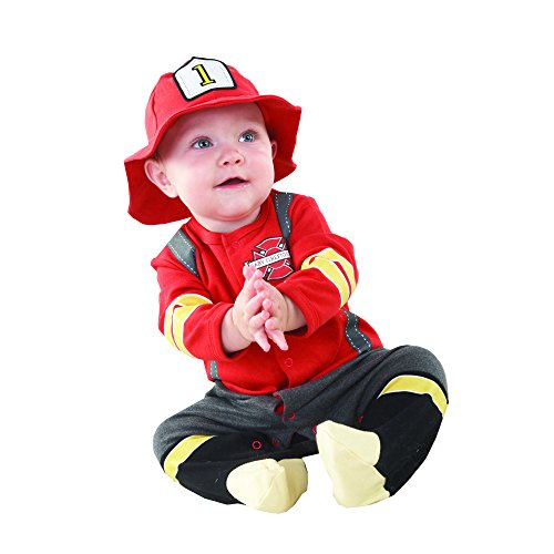 (Baby Aspen, Baby Firefighter Themed Gift Box, Baby Firefighter, Newborn Halloween Costume, 0-6)