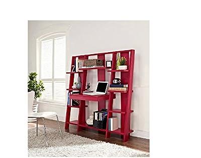 Ladder Bookcase/ Computer Desk with Modern Multiple Open Shelves (Red)