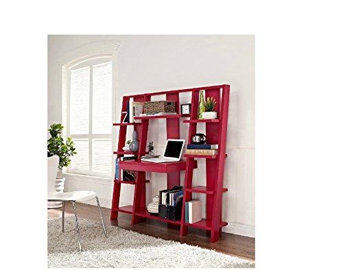 Ladder Bookcase/ Computer Desk with Modern Multiple Open Shelves - Double Shelves Ladder Desk