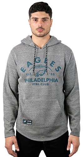 Icer Brands NFL Philadelphia Eagles Men's Fleece Hoodie Pullover Sweatshirt Vintage Logo, Medium, Gray