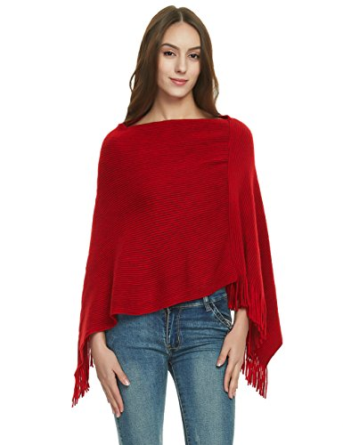 Ferand Women's Soft Knit Poncho Sweater, Elegant Fringe Cape Shawl in Multi-Way Neck Style, Red