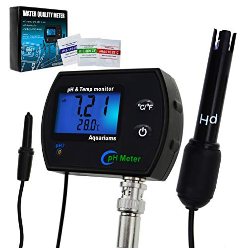 PH & Temperature 2-in-1 Continuous Monitor Meter w/Backlight Replaceable Electrode, Dual Display 0.00~14.00pH °C/ °F Water Quality Monitoring Kit, for Aquariums Hydroponics Pools Tanks Spa ()