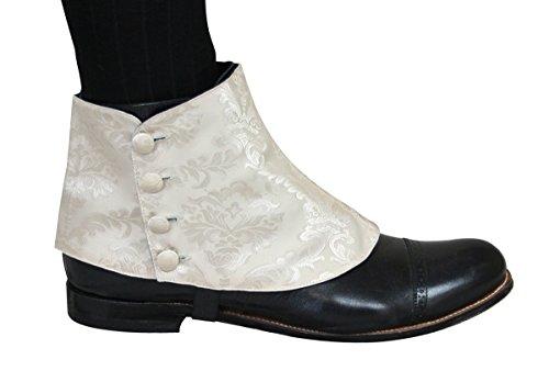 Historical Emporium Men's Premium Satin Jacquard Button Spats L Cream -
