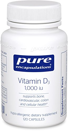 Pure Encapsulations - Vitamin D3 1,000 IU - Hypoallergenic Support for Bone, Breast, Prostate, Cardiovascular, Colon and Immune Health* - 120 Capsules