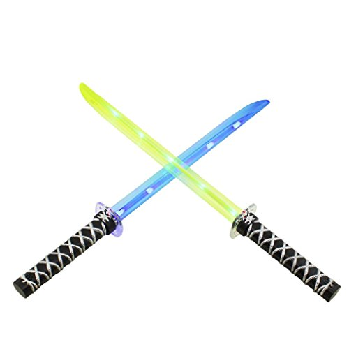 Mememall Fashion Ninja Light Up LED Sword Sticks Sounds Halloween Costume Toys Deluxe Lot Samurai (Mad Scientist Deluxe Adult Costume)