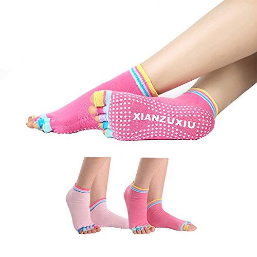 Women rainbow Yoga Toe Socks 2 Pack