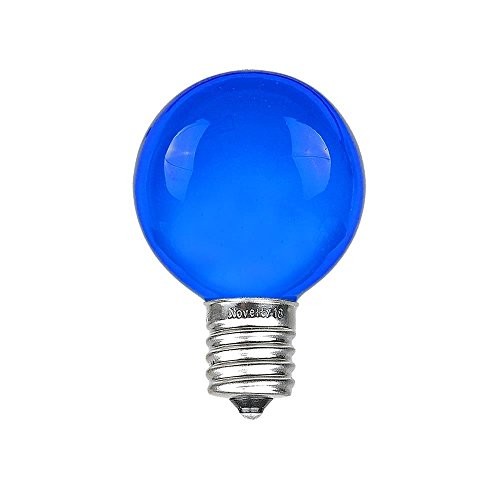 Novelty Lights 25 Pack G30 Outdoor Globe Replacement Bulbs, Blue, C7/E12 Candelabra Base, 5 Watt