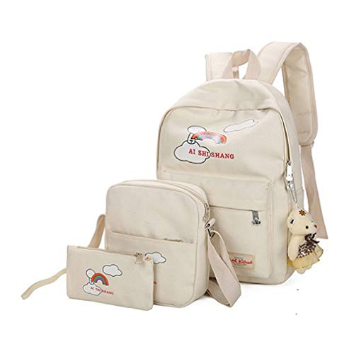 Cartoon Backpack Beige Pink L29cm Printing W12cm Sets School Bear Girls H38cm Backpacks Rose 3Pcs nqRA0WC1tw