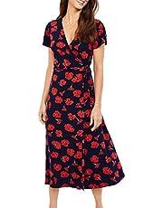 PRETYZOOM Women V-neck Short Sleeve Boho Dress Beach Flower Dress Casual Sundress for Wedding Party Beach