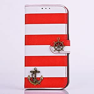Rainbow Stripe Uncharted Waters PU Leather Diamond Full Body Case with Stand for Samsung Galaxy S6(Assorted Aolors) , Red