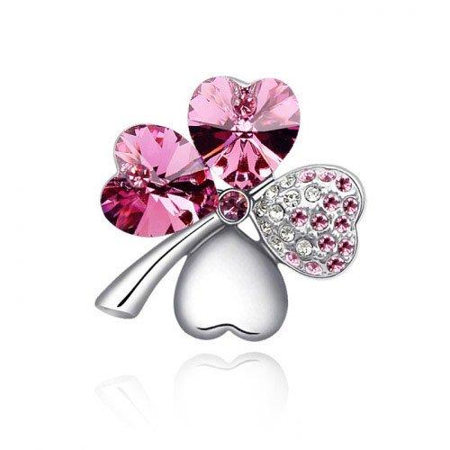 Rarelove Jewelry Austrian Sweet Crystal horno, diseño de flor rosa ...