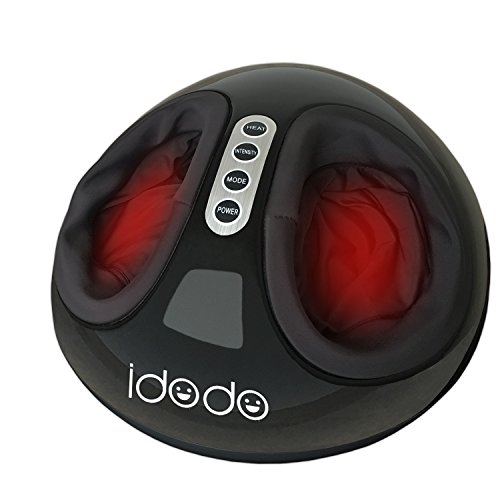 Electric Shiatsu Foot Massager Machine with Heat, IDODO Deep Kneading Rolling Vibrating Air Pressure Relax Feet Massagers for Home and Office Use