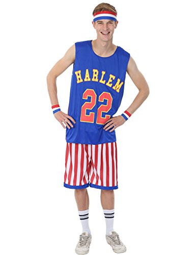 Mens Harlem Globetrotters Basketball Sports Stag Halloween Costume Extra Large