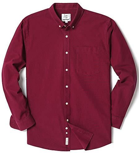Men's Long Sleeve Oxford Regular Fit Button Down Casual Shirt Maroon - Green Maroon