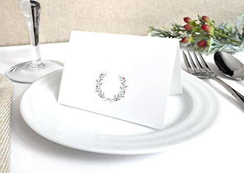 20 Pack - Winter Wedding Place Cards - Blank Simple Wreath and Berries Wedding Escort Cards - Pre-Scored Shipped Flat You Fold - Pack of 20 (Flat Wreath Card)