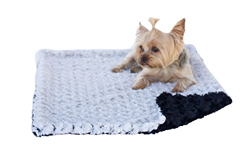 The Dog Squad Two Tone Minkie Binkie Blanket, 20 by 30 Square Feet, Grey/Black Review