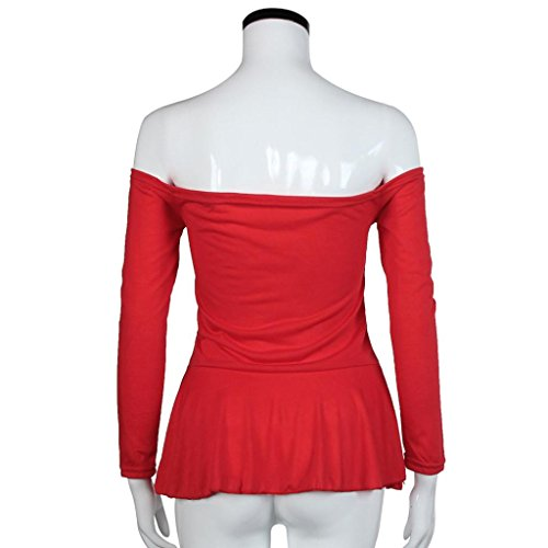 Bluestercool Moda mujer camisa manga larga blusa Casual Rojo