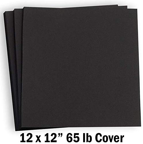 Hamilco Card Stock Scrapbook Paper 12x12 Black Colored 65lb Cardstock - 25 Pack (Black 12x12 Cardstock)
