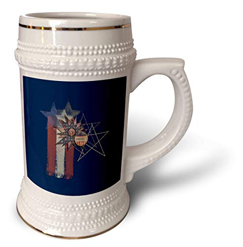 r Patriotic Design - Aged Colors Painted Look Stars, Stitches, America Button, Stripes - 22oz Stein Mug (stn_287048_1) ()