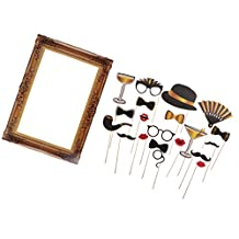 Dovewill Funny Hand Held Photo Booth Prop+Vintage Photo Frame for Wedding Birthday