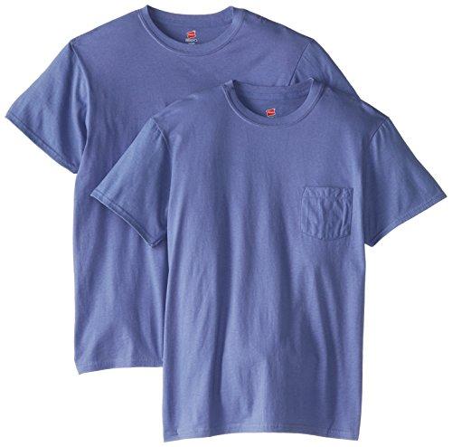 Hanes Men's Nano Premium Cotton Pocket T-Shirt (Pack of 2), Vintage Navy, Medium